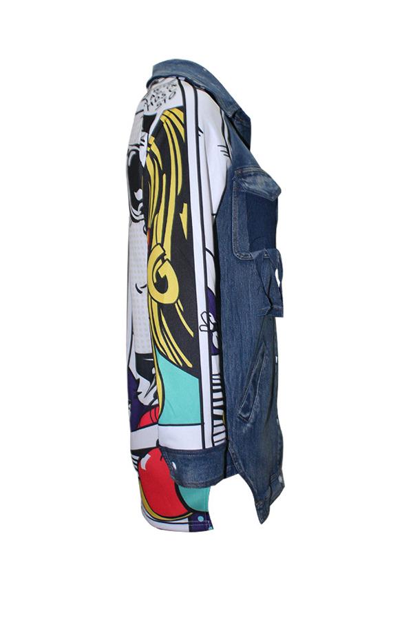 Lovely Trendy Turndown Collar Long Sleeves Printed Patchwork Blue Denim Coat