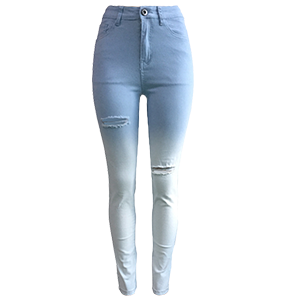 denim Solid Zipper Fly High Regular Pants Jeans