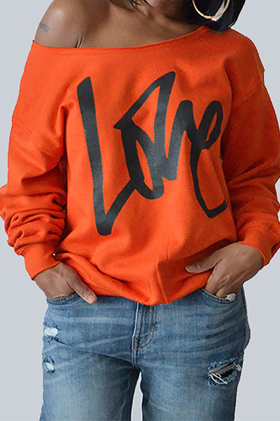 Leisure Round Neck Long Sleeves Letters Printing Orange Cotton Pullover