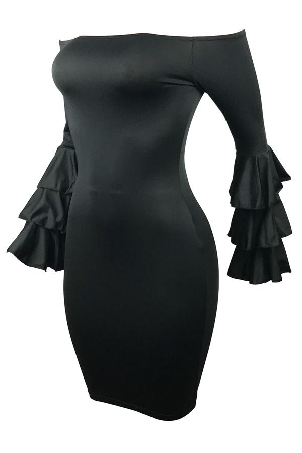 Stylish Dew Shoulder Long Sleeves Falbala Design Black Polyester Sheath Knee Length Dress