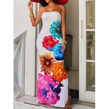 Stylish Dew Shoulder Floral Print White Polyester Sheath Ankle Length Dress