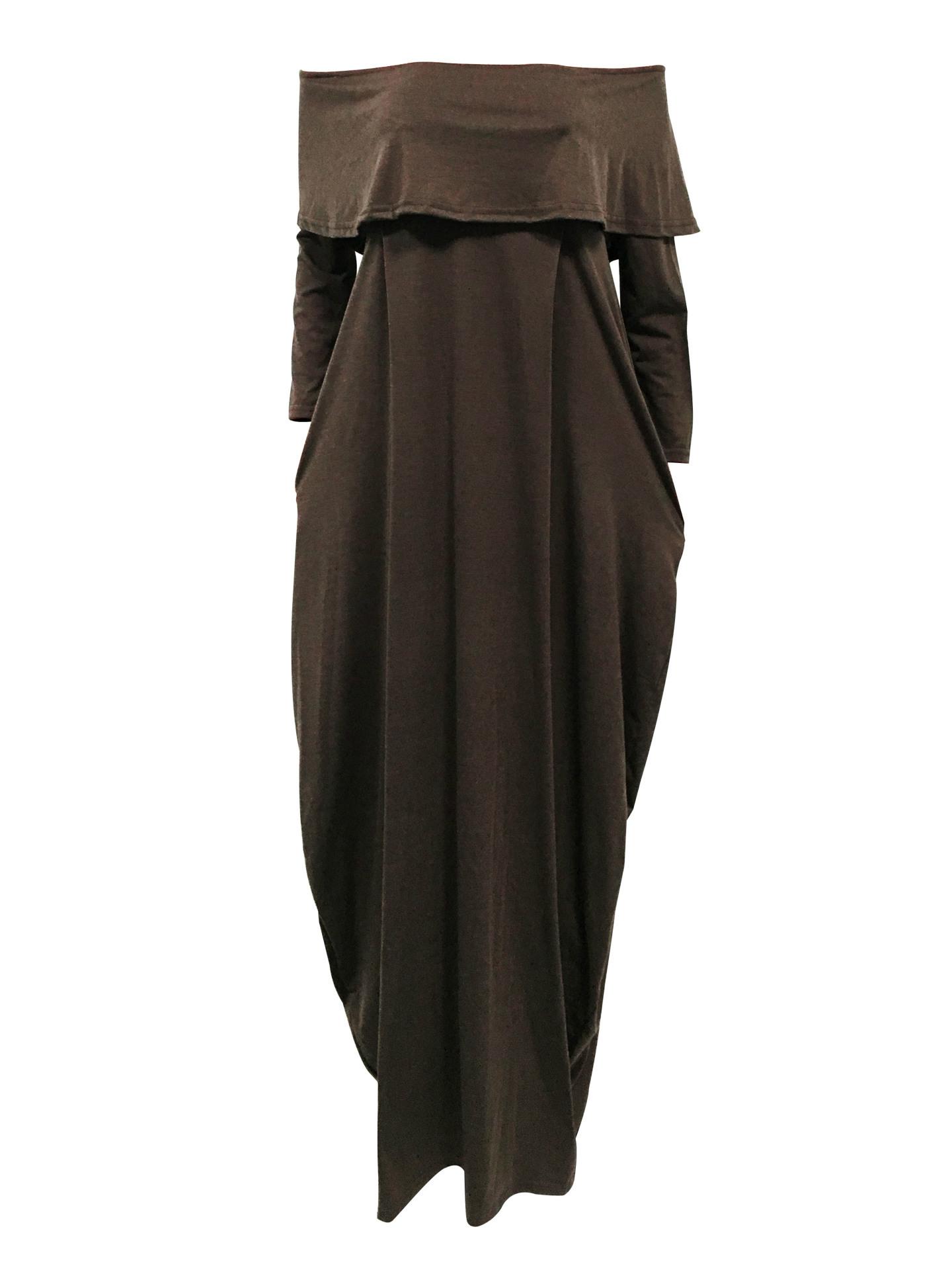 Мода Росы Плеча Falbala Дизайн Серый-зеленый хлопок смесь голеностопного Длина платья