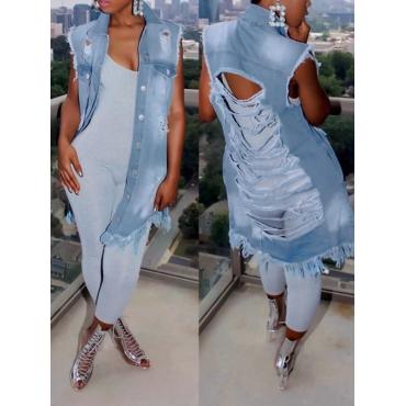 Colletto di tendenza alla moda tagliata a lunga coda denim blu