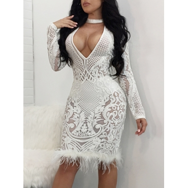 Sexy Deep V Neck See-Through White Polyester Sheath Knee Length Dress