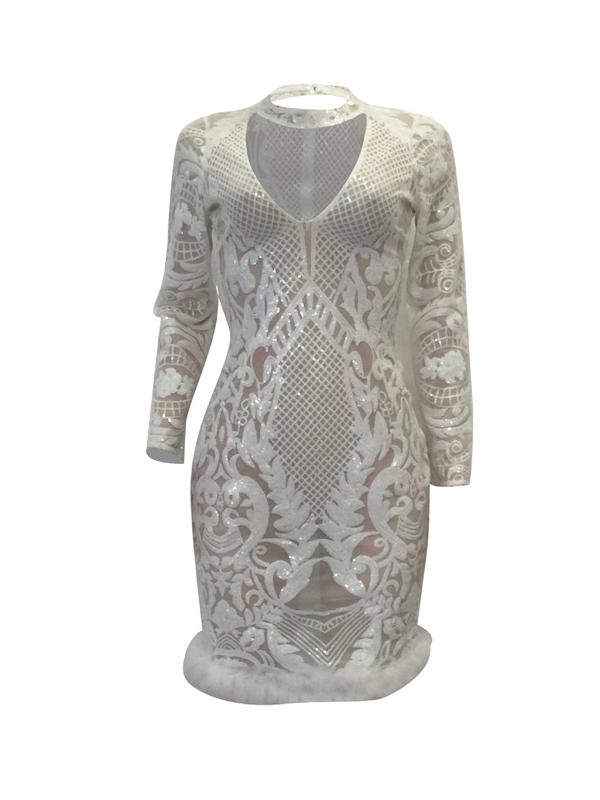 Sexy Deep V Neck See-Through White Polyester Sheath Knee Length Dress