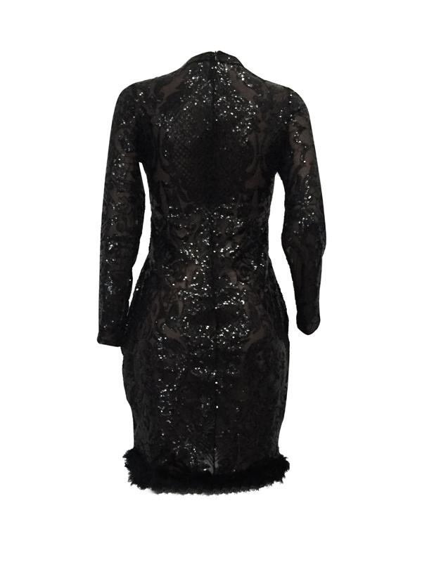 Sexy cuello profundo V-See-Through negro de poliéster vaina vestido de longitud de la rodilla