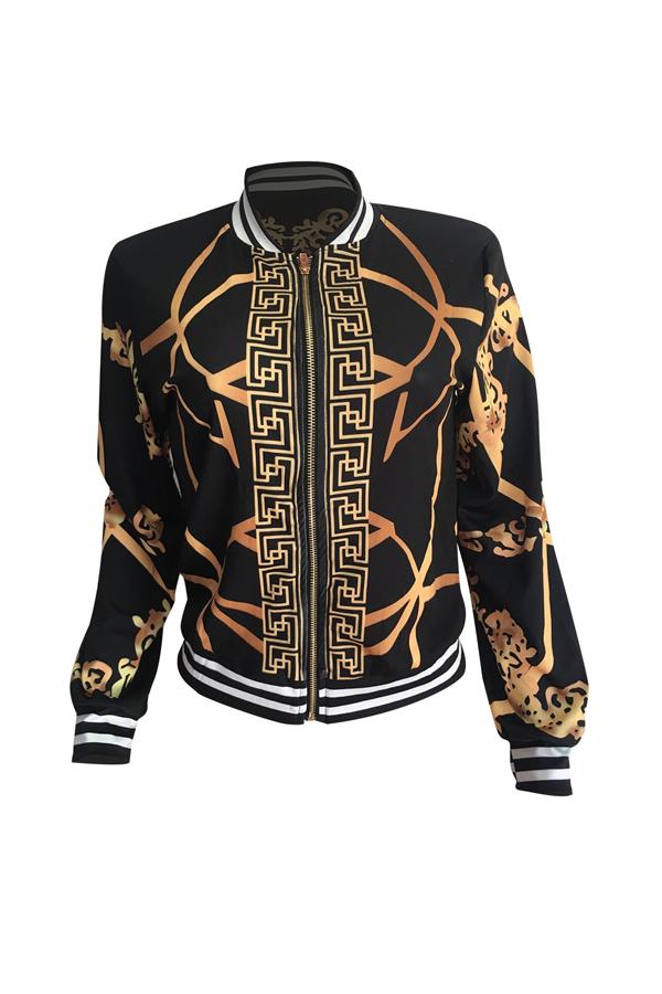 Euramerican Round Neck Printed Polyester Jacket