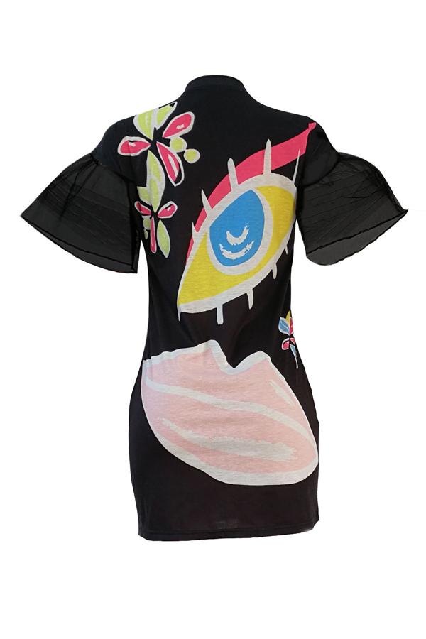 Euramerican Round Neck Short Sleeves Printed Black Polyester Sheath Mini Dress