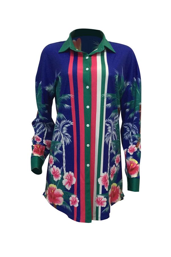 Euramerican Turndown Kragen Blumendruck Blau Polyester Minikleid (Ohne Gürtel)