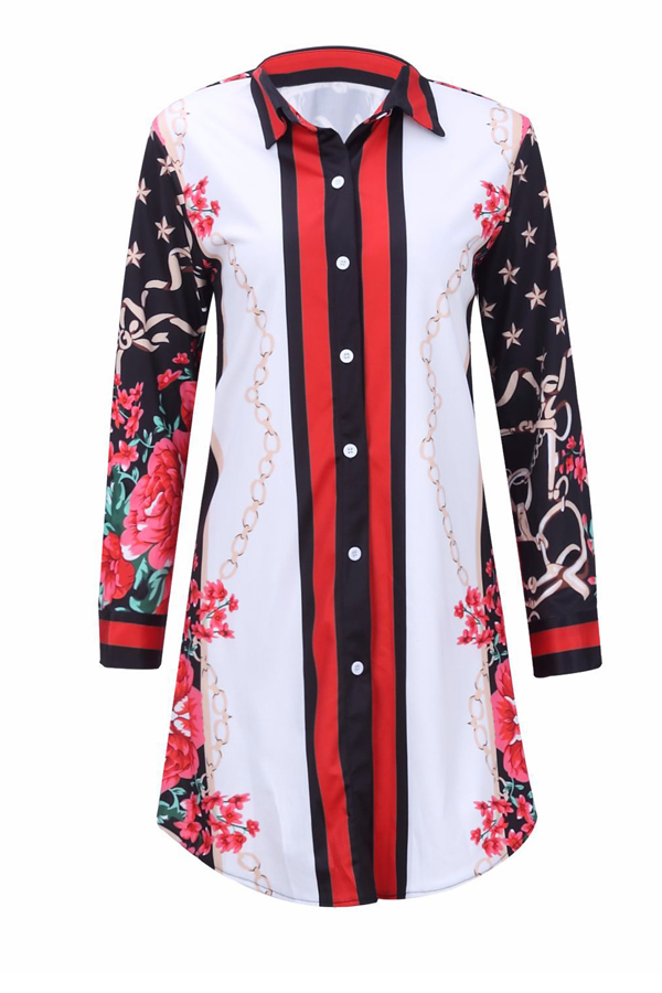 Trendy Turndown Collar Printed Patchwork Polyester Sheath Mini Dress