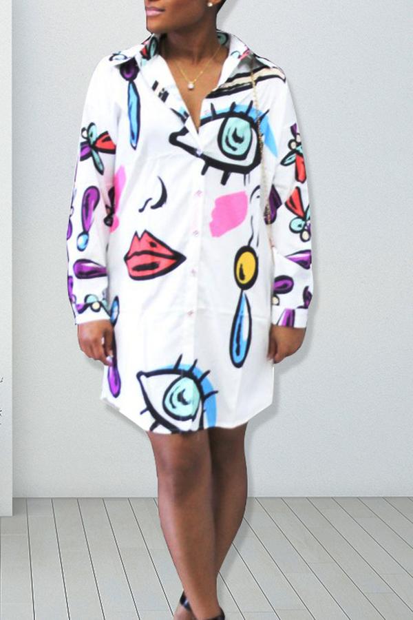 Collar de moda en la espalda impreso vestido de poliéster blanco longitud de la rodilla