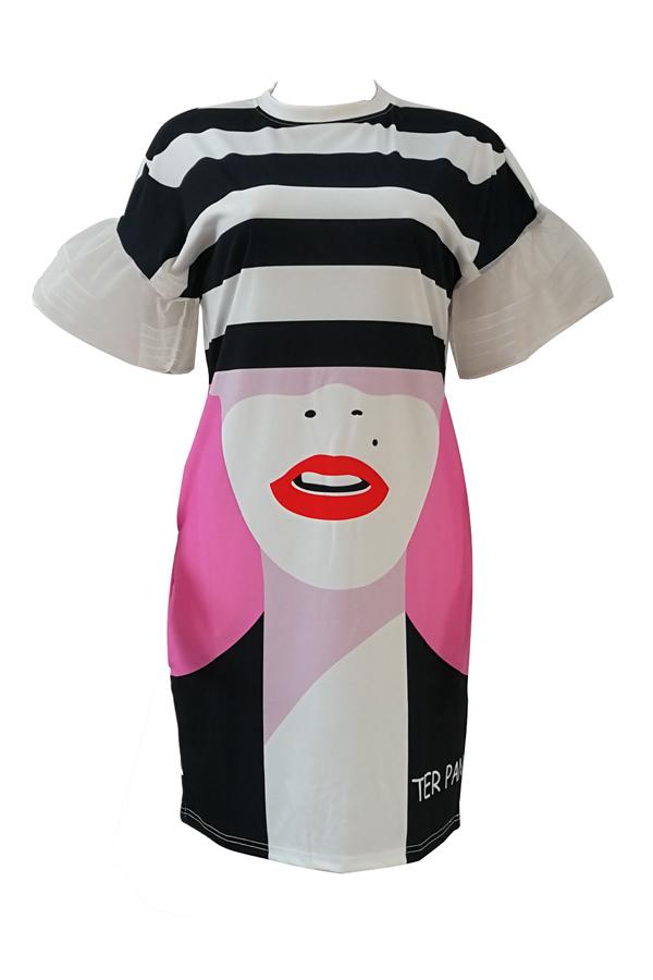 Elegante vestido redondo impresso branco vestido de poliéster comprimento do joelho