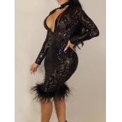 Vestido De Longitud De La Rodilla De Poliéster Negro Transparente Profundo Escote En V Profundo