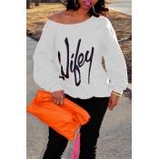 Trendige Tau Schulter Briefe Bedruckt Weiße Baumwollmischungen Pullover