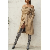 Fashion Off-shoulder Wool Blends Coat