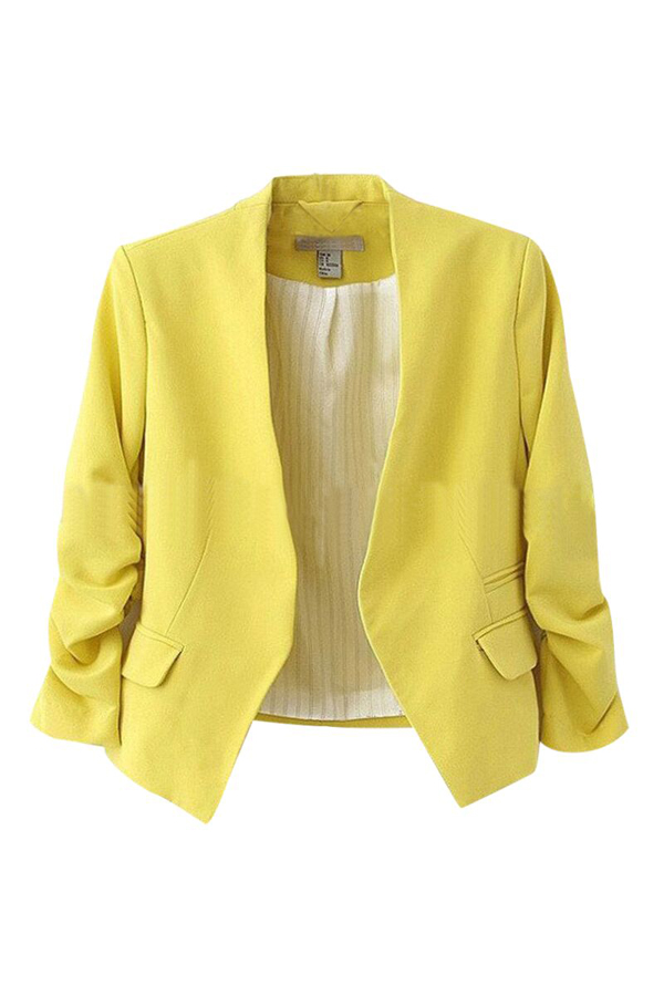 Stylish V Neck Long Sleeves Yellow Cotton Blends Short Coat