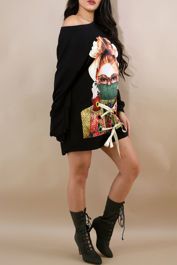 Leisure Round Neck Long Sleeves Printed Black Polyester Mini Dress