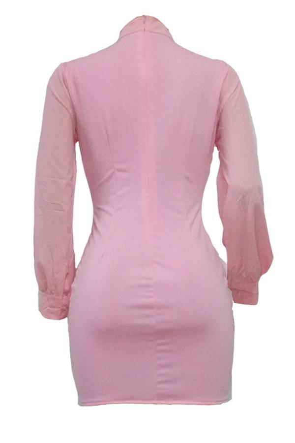 Trendy Rundhalsausschnitt Rosa Polyester Mantel Minikleid