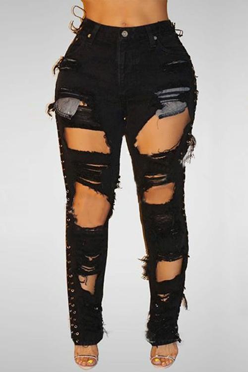 sexy zerrissene schwarze jeans jeans bottoms. Black Bedroom Furniture Sets. Home Design Ideas