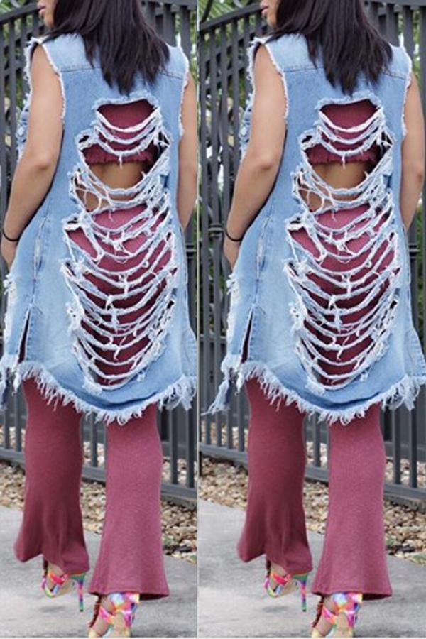 Trendy Turndown Collier Broken Holes Blue Denim Long Coat