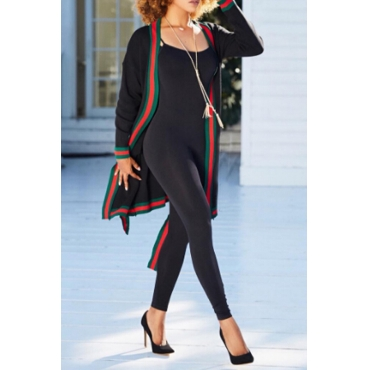Leisure V Neck Printed Patchwork Black Polyester Long Coat