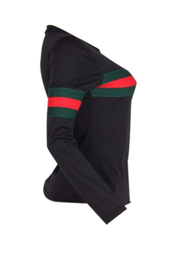 Leisure Round Neck Striped Patchwork Black Cotton T-shirt
