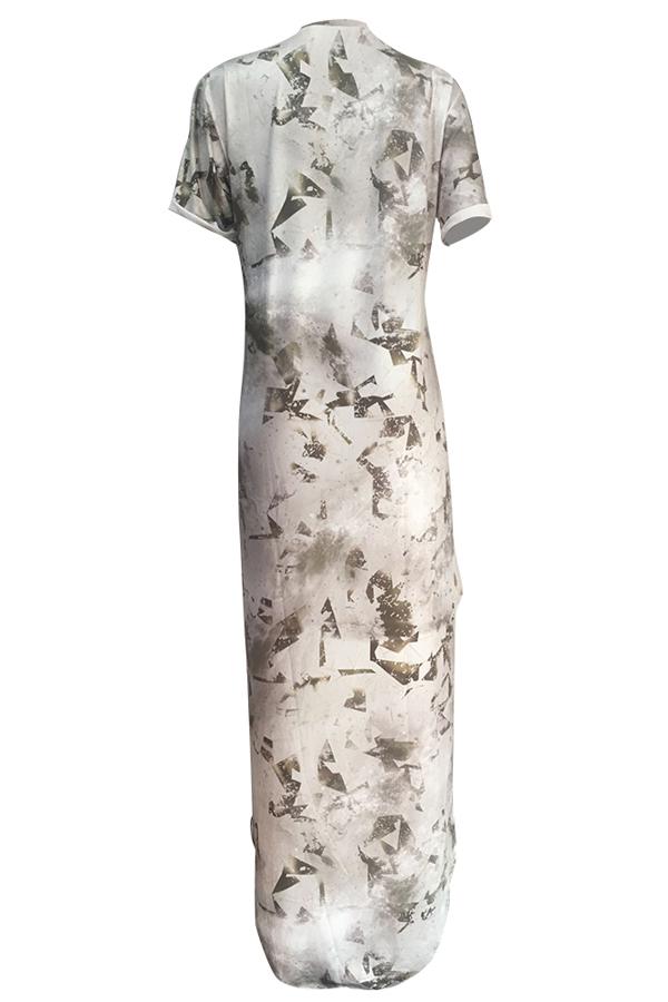 Vestido de longitud de tobillo de fibra de leche asimétrica estampada de moda