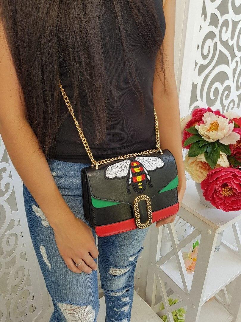 Stylish Embroidery Decorative Black PU Crossbody Bag