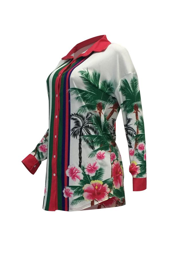 Euramerican Turndown Collar Floral Print White Polyester Mini Dress(Without Belt)