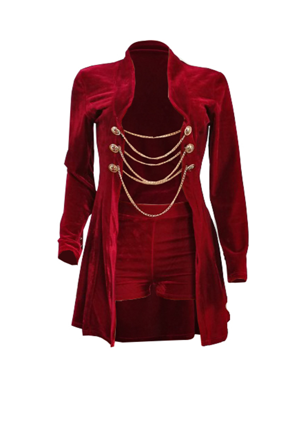 Sexy Turndown Collar Chains Decoration Red Velvet Two-piece Short Set