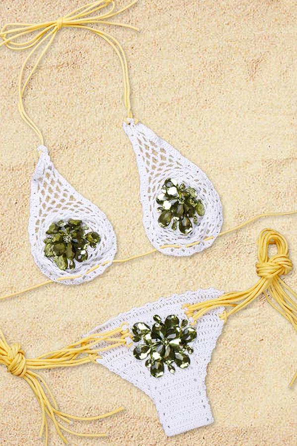 Sexy Lace-up Diamante Decorative Yellow Polyester Bikini Set
