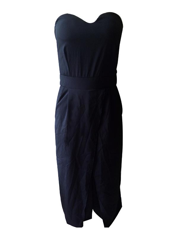 Trendy Dew Shoulder Patchwork Black Cotton Blends One-piece Jumpsuits
