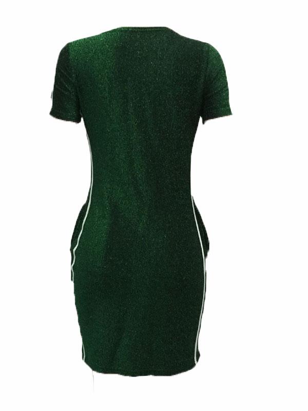 Freizeit-Rundhals-Patchwork-Grün-Polyester-Mantel-Minikleid