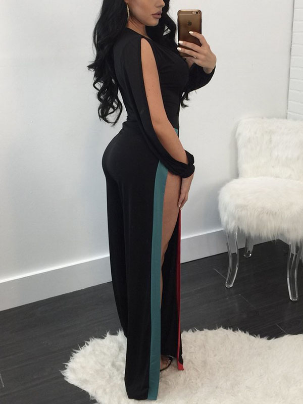 Polyester Patchwork Straight Jumpsuits