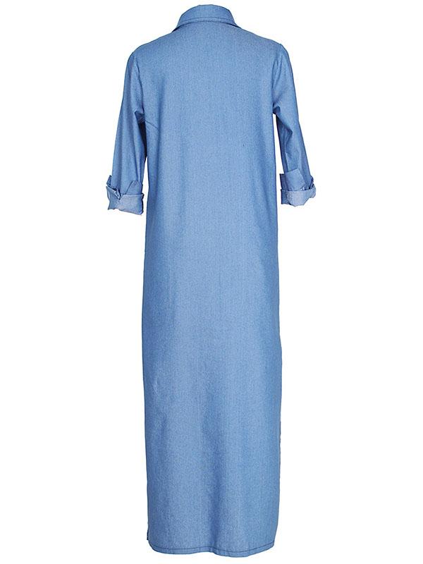 Stylish Turndown Collar Long Sleeves Blue Denim Long Coat