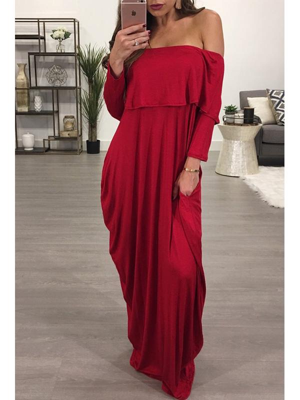 Fashion Rosée Épaule Falbala Design Vin Rouge Coton Longueur Cheville Longueur Robe