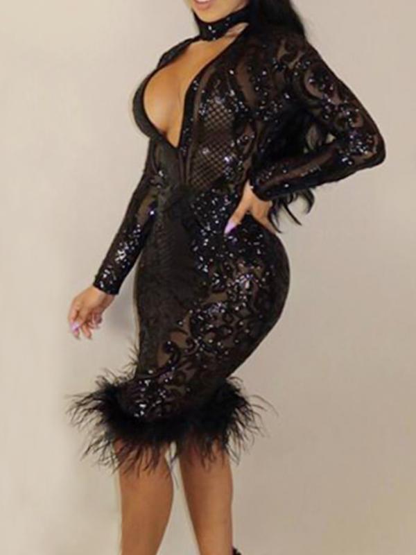 Sexy Deep V Neck See-Through Black Polyester Sheath Knee Length Dress