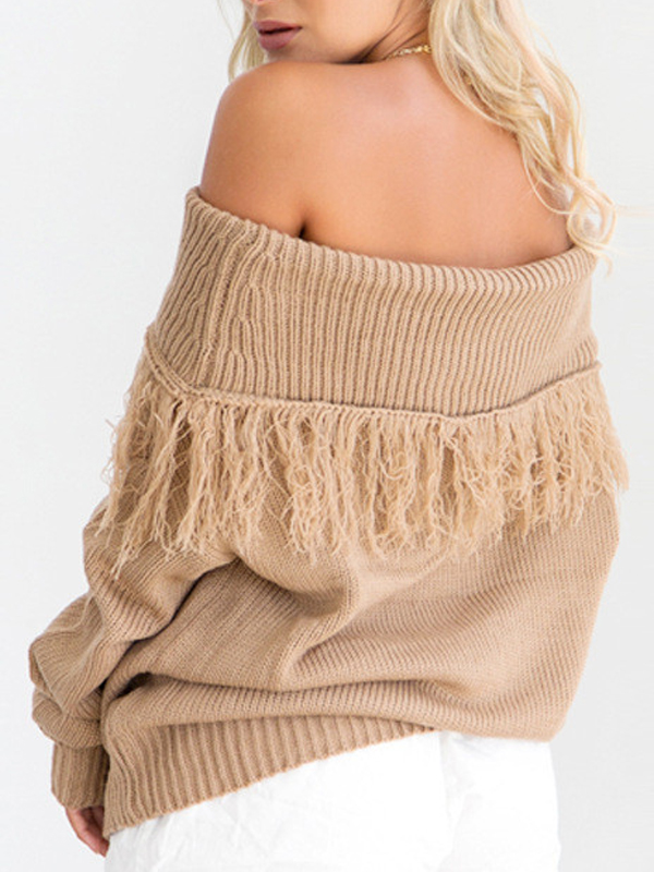 Trendy Dew Shoulder Long Sleeves Light Tan Cotton Blends Sweaters