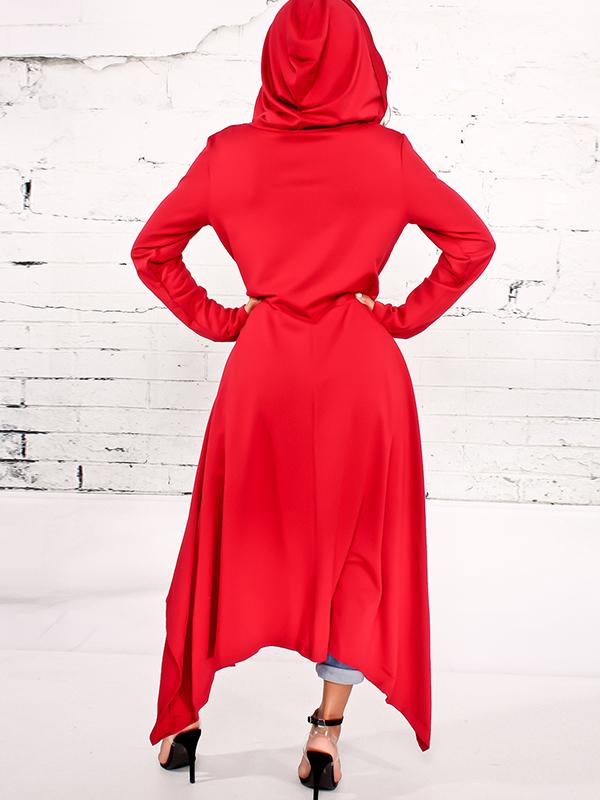 Mochilas redondas em torno do pescoço de manga comprida Pulôveres vermelhas de misturas de algodão