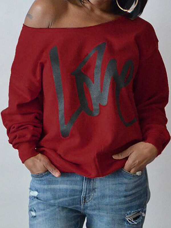 Leisure Round Neck Long Sleeves Letters Printing Purplish Red Cotton Pullover