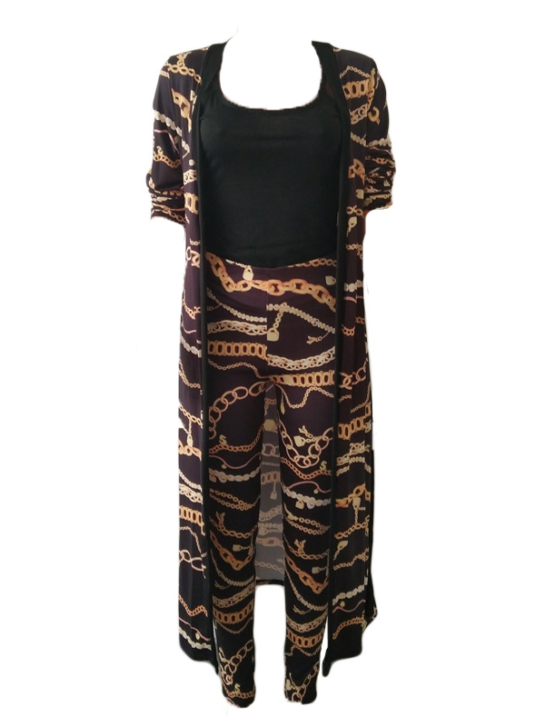 Stylish V Neck Printed Black Polyester Two-piece Pants Set