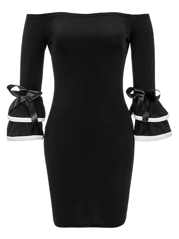 Стильное плечо плеча с длинными рукавами Пэчворк черный полиэстер оболочка мини платье