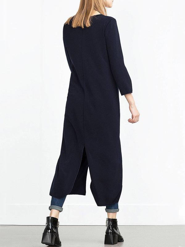 Мода V шеи с длинными рукавами Дизайн застежки -молнии Black pandex Long Coat