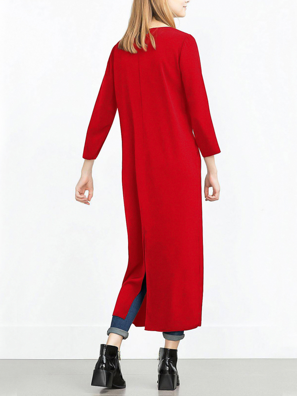 Fashion V Neck Long Sleeves Zipper Design Wine Red pandex Long Coat