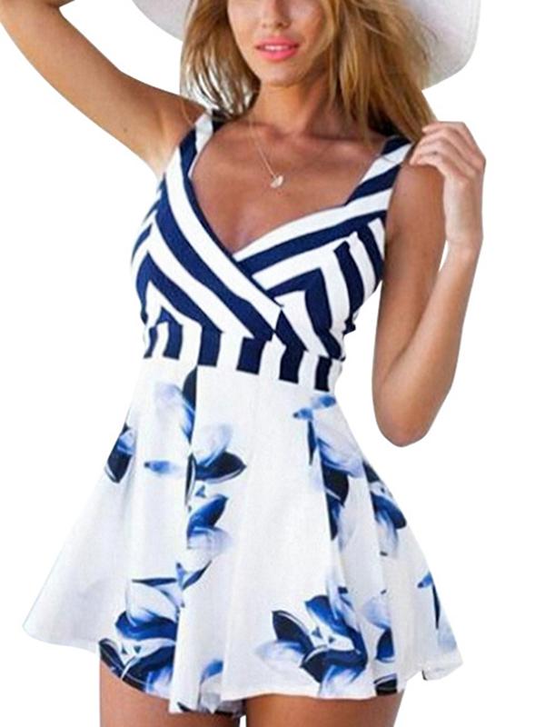Stylish Striped Cotton One-piece Jumpsuits