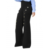 Polyester Solid Zipper Fly High Regular Pants Pant
