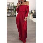 Moda Dew Shoulder Falbala Design Vinho Red Cotton Blend Ankle Length Dress