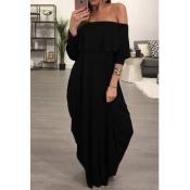 Vestido De La Falda Del Rocío De La Falda Del Diseño Del Hombro De La Falda Del Negro De La Moda Vestido Del Tobillo