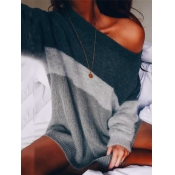 Leisure Round Neck Long Sleeves Striped Acrylic Sw