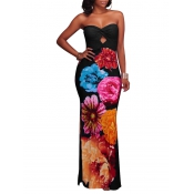Модная роса плеча Цветочная печать Черный полиэстер Платье для лодыжки